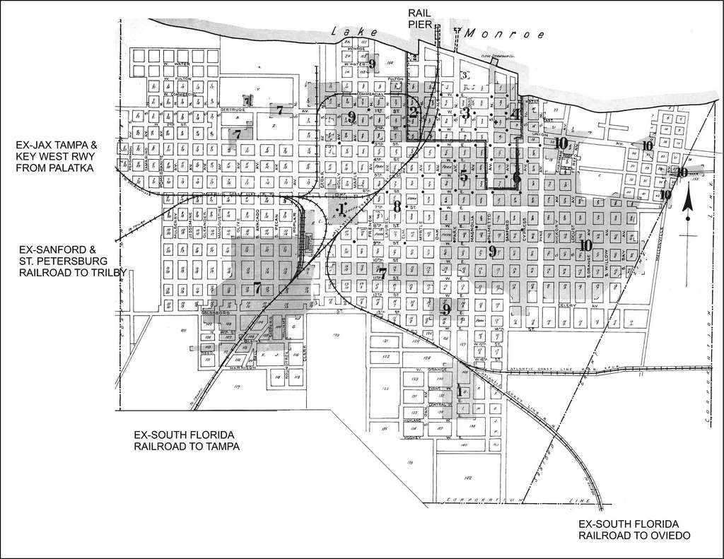 Sanford Street Map Shows Routes Of 3 Former Railroads In 1… Street - Street Map Of Englewood Florida