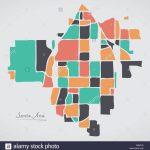 Santa Ana California Map With Neighborhoods And Modern Round Shapes   Santa Ana California Map