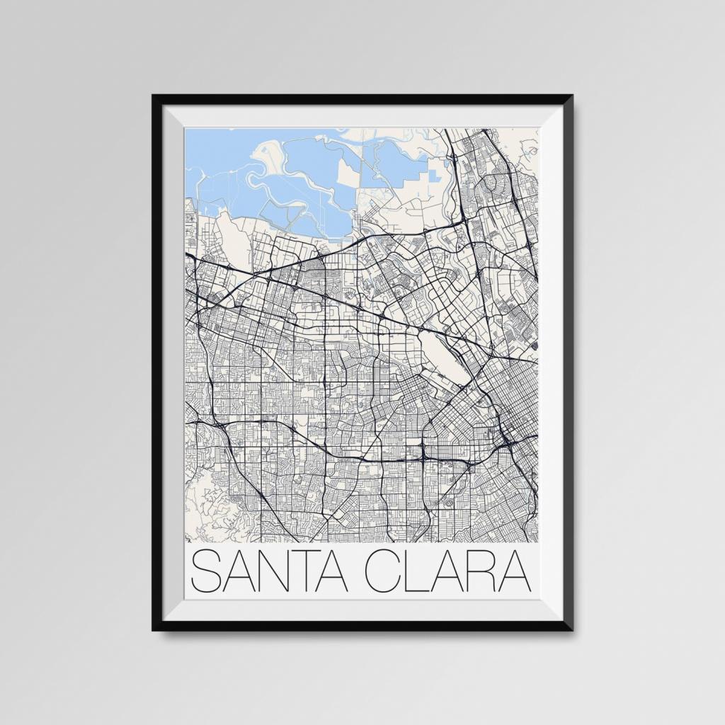 Santa Clara California Map Santa Clara City Map Print Santa   Etsy - Santa Clara California Map