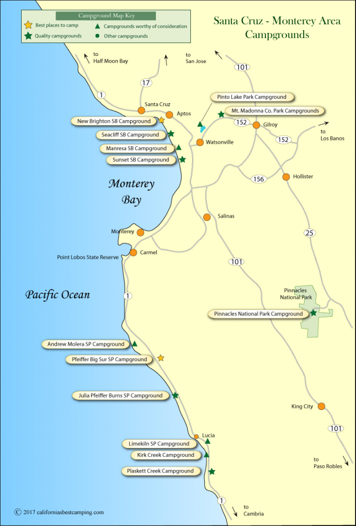 Santa Cruz - Monterey Area Campground Map - Camping Central California Coast Map