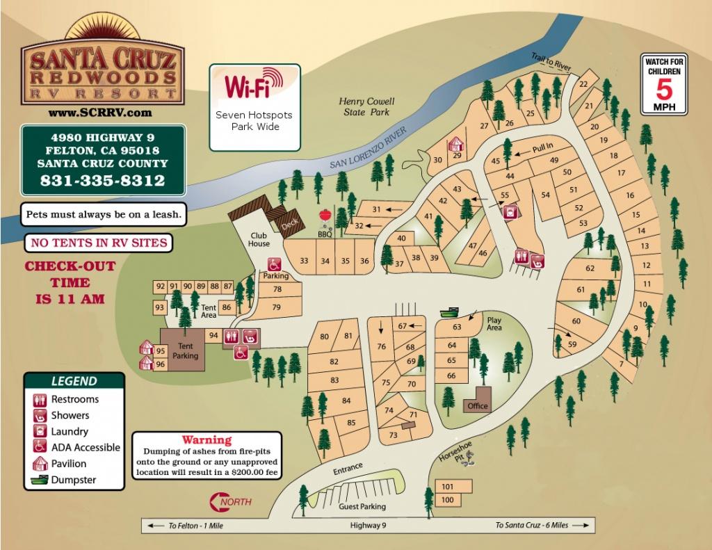 Santa Cruz Redwoods Rv Resort In Felton, Ca 95018 - Rv Parks California Map
