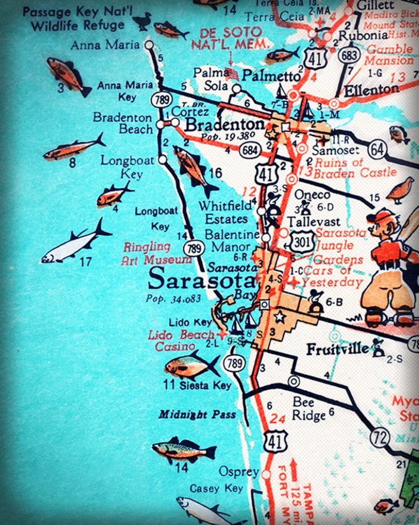 Sarasota Bradenton Retro Beach Map Print Funky Vintage   Etsy - Sarasota Beach Florida Map