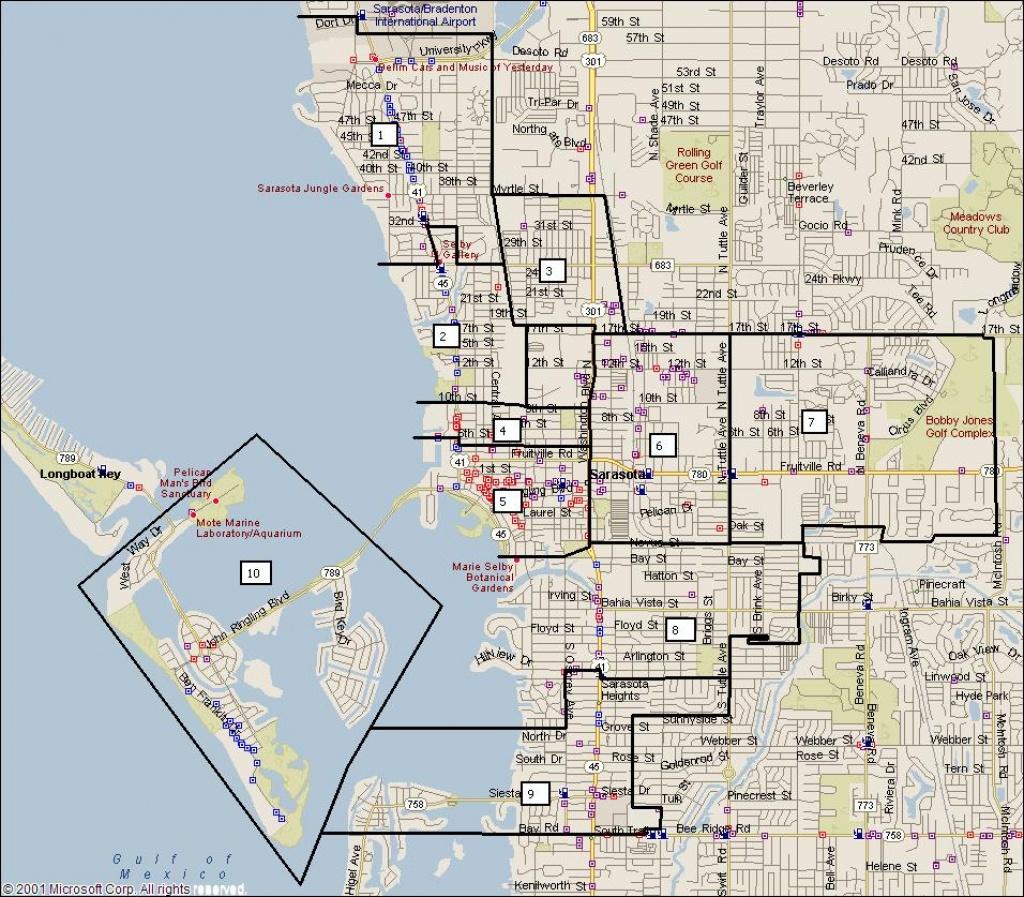 Sarasota Florida City Map - Sarasota Florida • Mappery - Sarasota Florida Map
