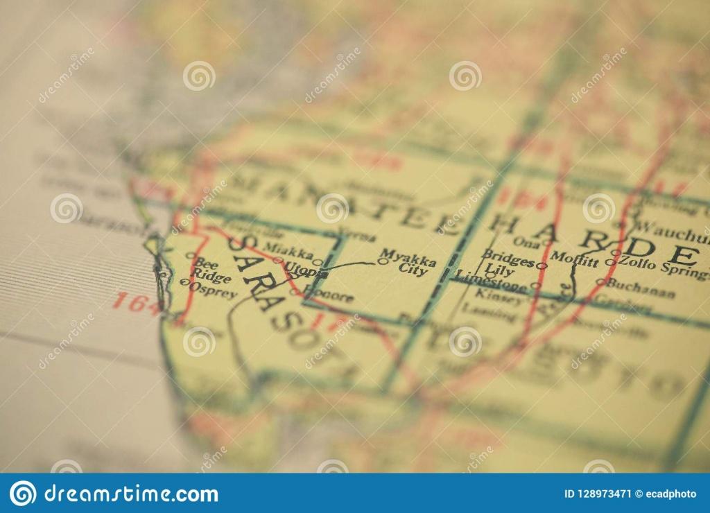 Sarasota Florida Map Stock Image. Image Of Sarasota - 128973471 - Osprey Florida Map