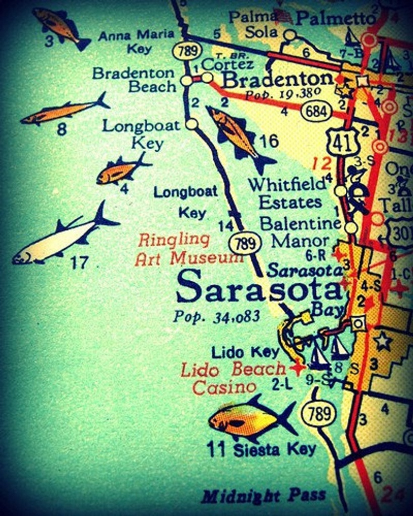 Sarasota Siesta Key Florida 11X14 Vintage Map Photograph Beach   Etsy - Siesta Key Beach Florida Map