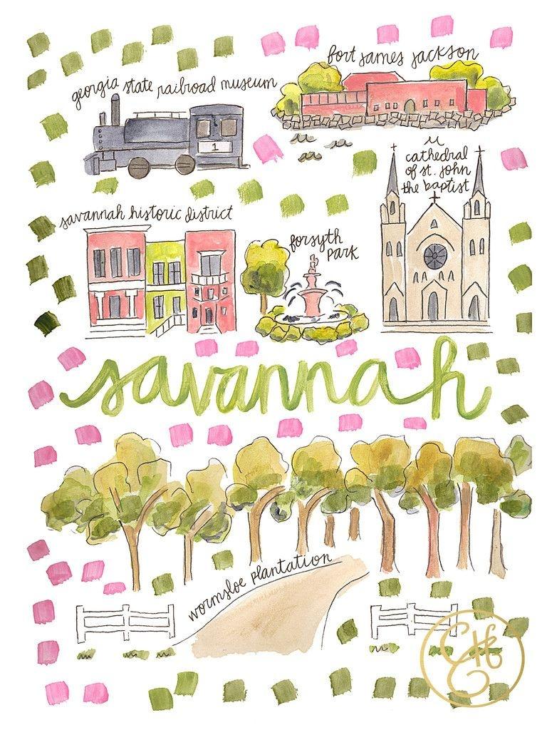Savannah Map Print – Evelyn Henson Www.evelynhenson   Evelyn - Printable Map Of Savannah Ga