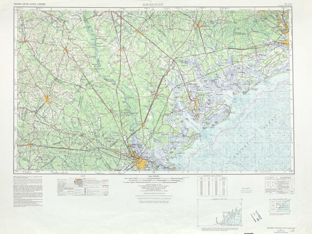 Savannah Topographic Maps, Sc, Ga - Usgs Topo Quad 32080A1 At 1 - Printable Map Of Savannah Ga