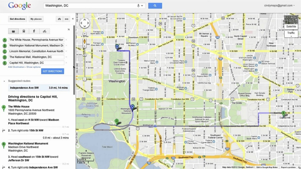 Saving Directions In Google Maps - Youtube - Printable Map Route Planner