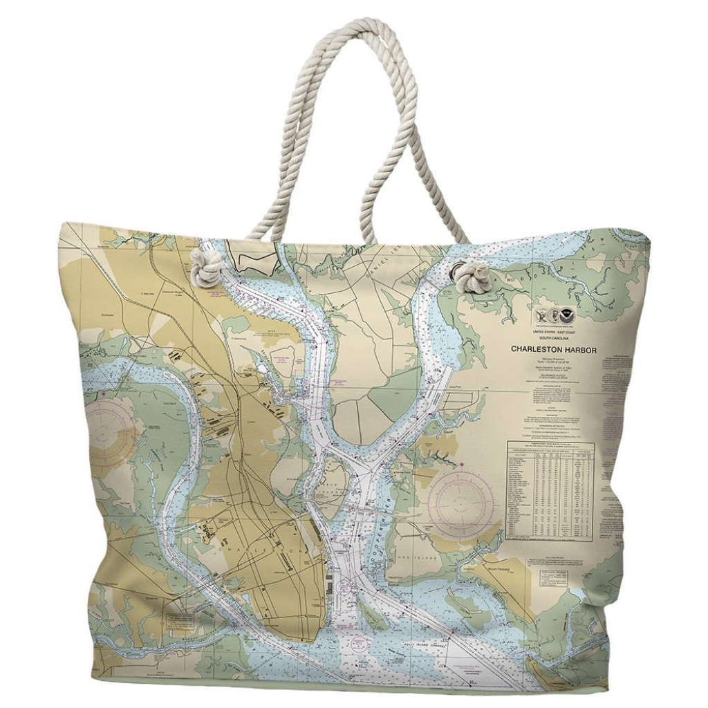Sc: Charleston Sc Nautical Chart Tote Bag Travel Themed Tote | Etsy - Florida Map Purse