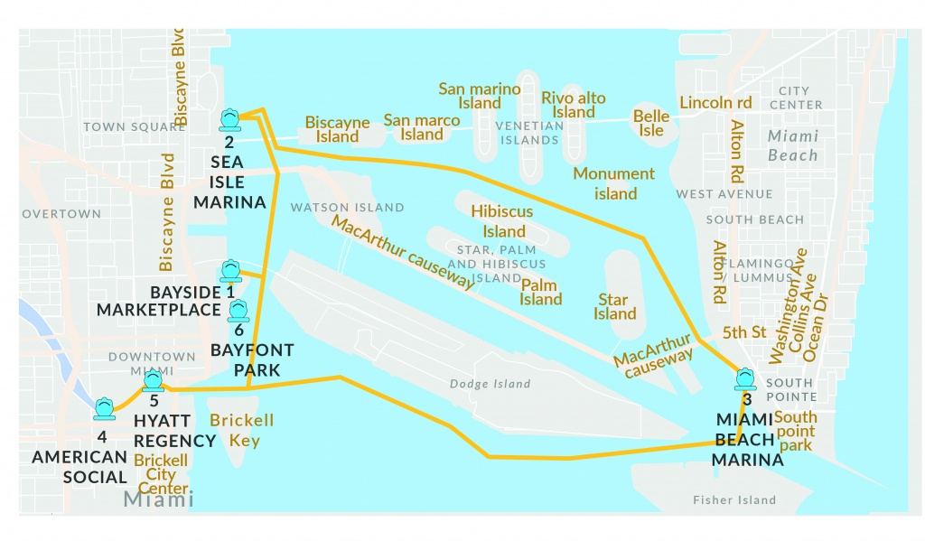 Schedule Rates For Water Taxi Miami | Miami Beach Water Taxi Schedule - Sunny Isles Florida Map