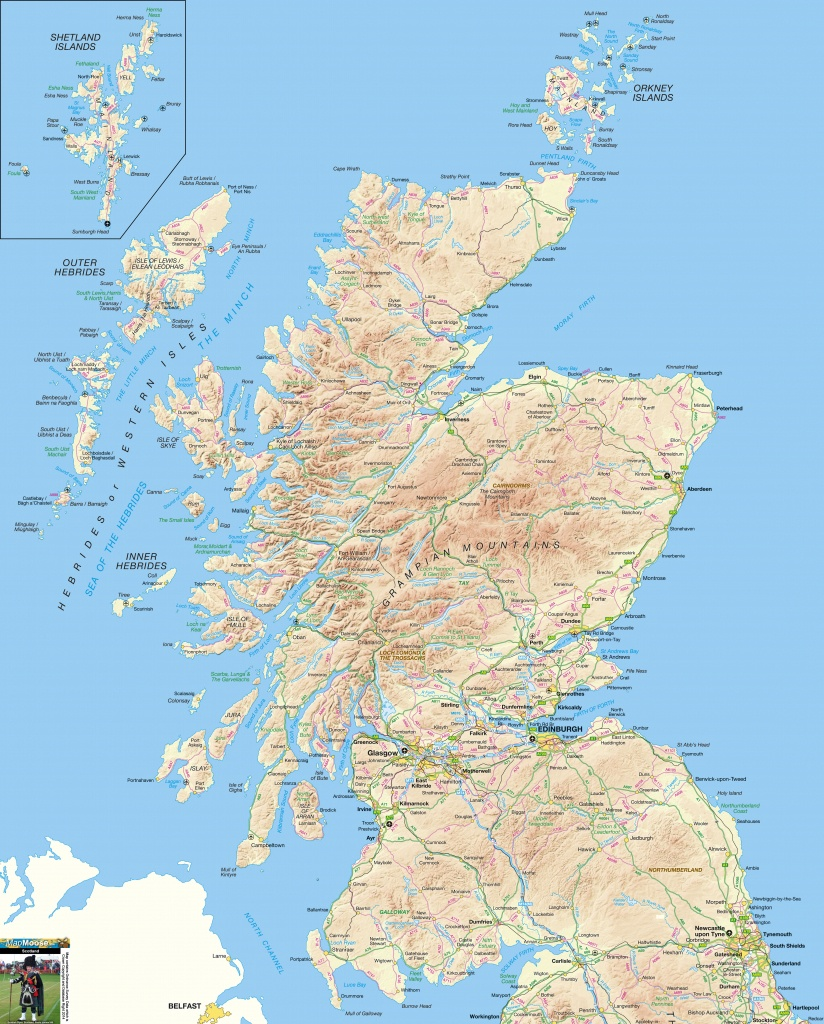 Scotland Offline Map, Including Scottish Highlands, Galloway, Isle - Printable Map Of Mull