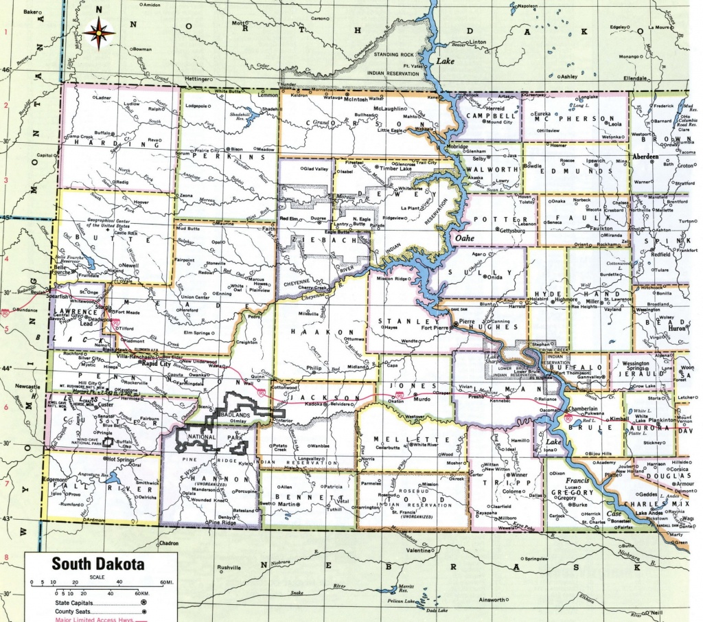 Sd County Map And Travel Information | Download Free Sd County Map - South Dakota County Map Printable