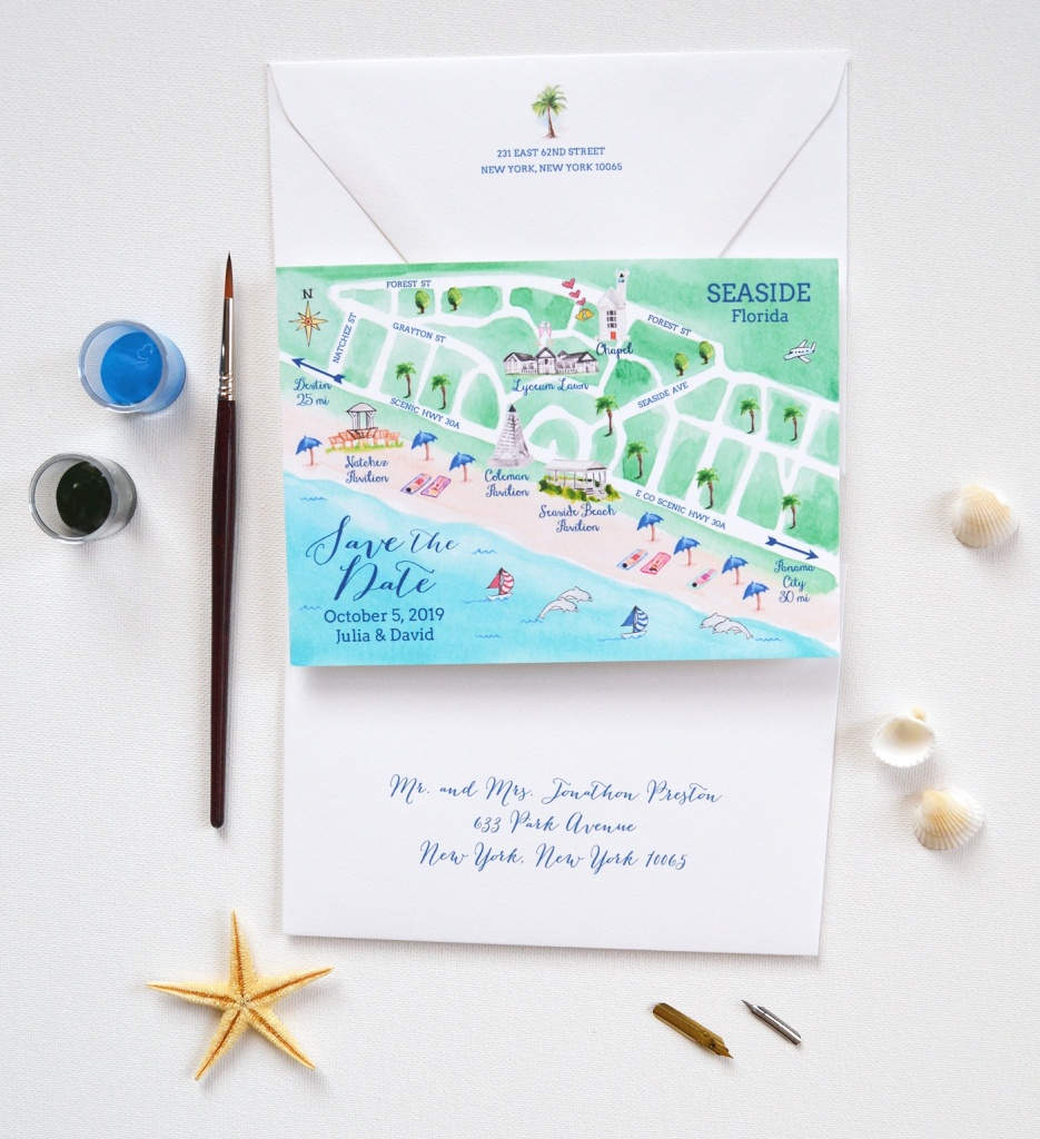 Seaside Map Save The Date - Map Of Watercolor And Seaside Florida