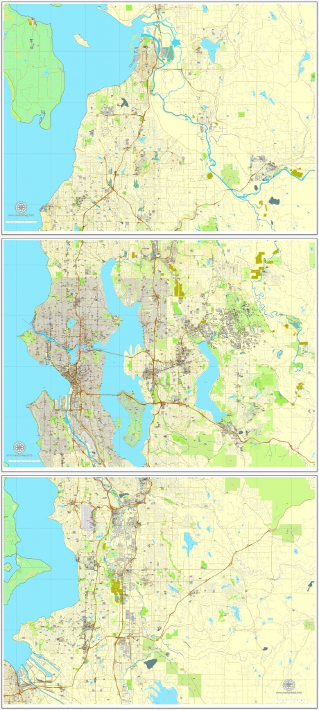 Seattle Pdf Map State Washington, Us Printable Vector City Plan 3 Parts Map  V2 Full Editable Street Map Adobe Pdf - Printable Map Of Seattle