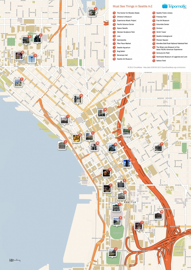 Seattle Printable Tourist Map | Free Tourist Maps ✈ | Seattle - San Diego Attractions Map Printable