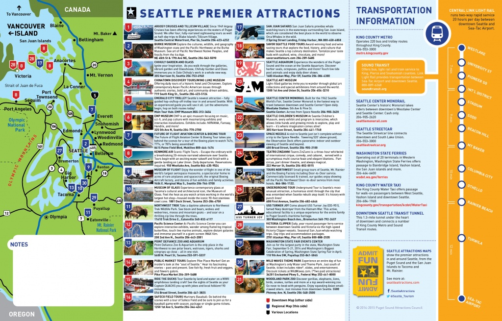 Seattle Tourist Map And Travel Information | Download Free Seattle - Seattle Tourist Map Printable