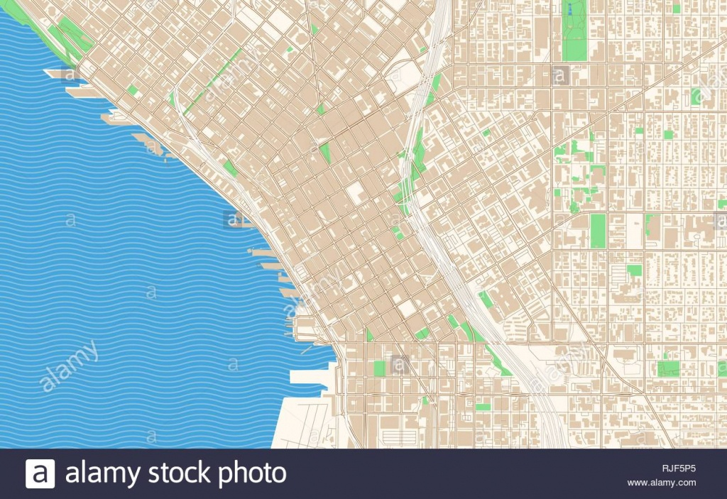 Seattle Washington Printable Map Excerpt. This Vector Streetmap Of - Printable Map Of Downtown Seattle