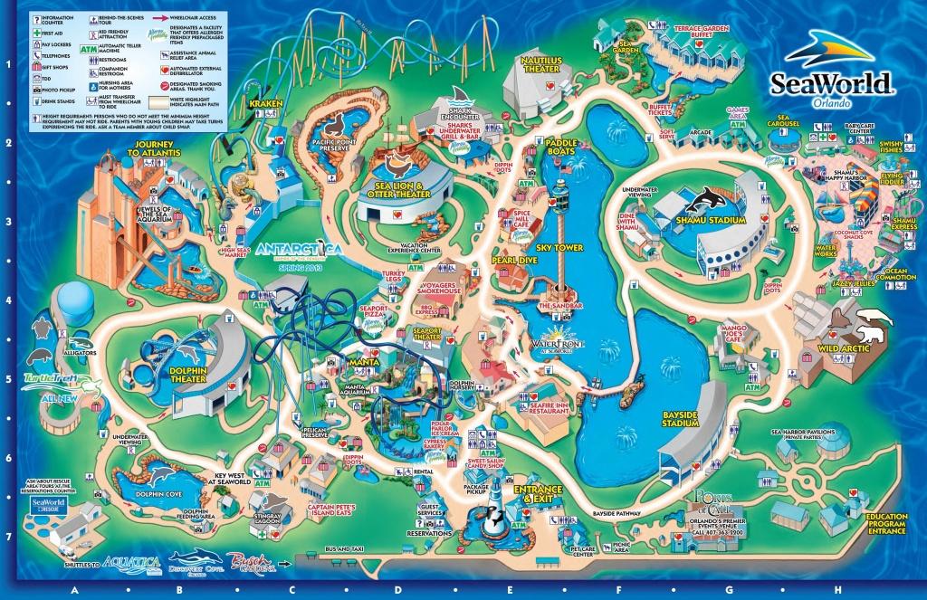 Seaworld Orlando Theme Park Map - Orlando Fl • Mappery   Aquariums - Orlando Florida Theme Parks Map