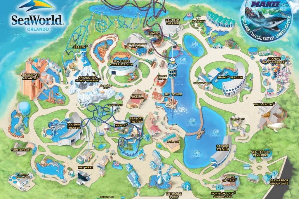 Seaworld, Orlando - Themed, Water Amusement Park - Seaworld Map Orlando Florida