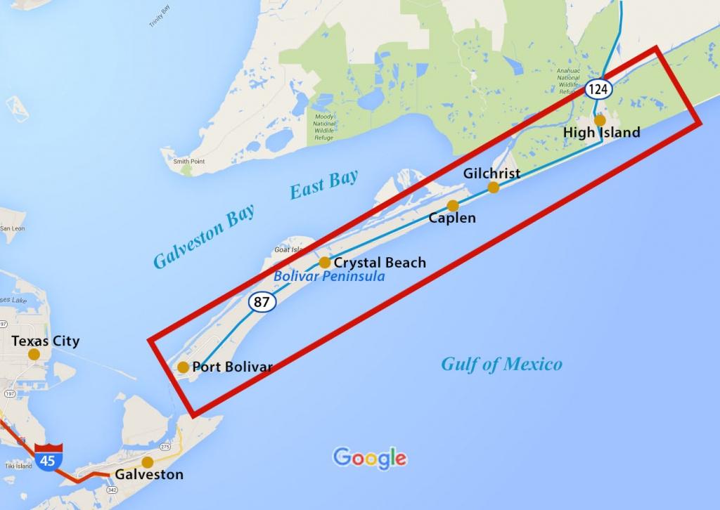 Service Area | Welcome To Bolivar Peninsula S. U. D. - Crystal Beach Texas Map