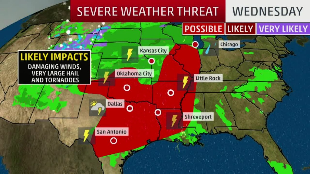 Severe Storms, Flooding In The Forecast Today For Texas, Southern - Texas Weather Map Today