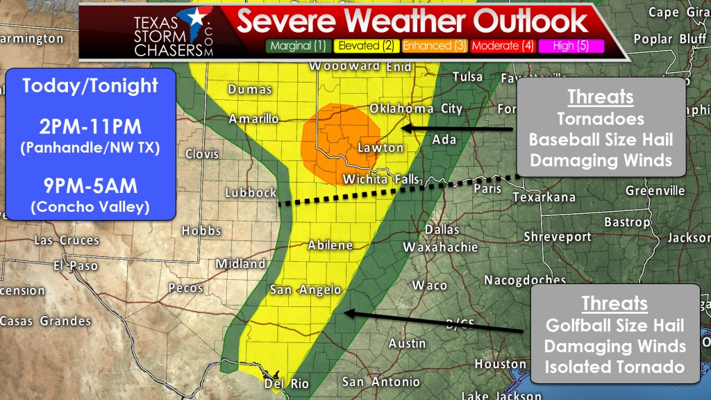 Severe Thunderstorms Likely Later Today And Tonight In Western Texas - West Texas Weather Map