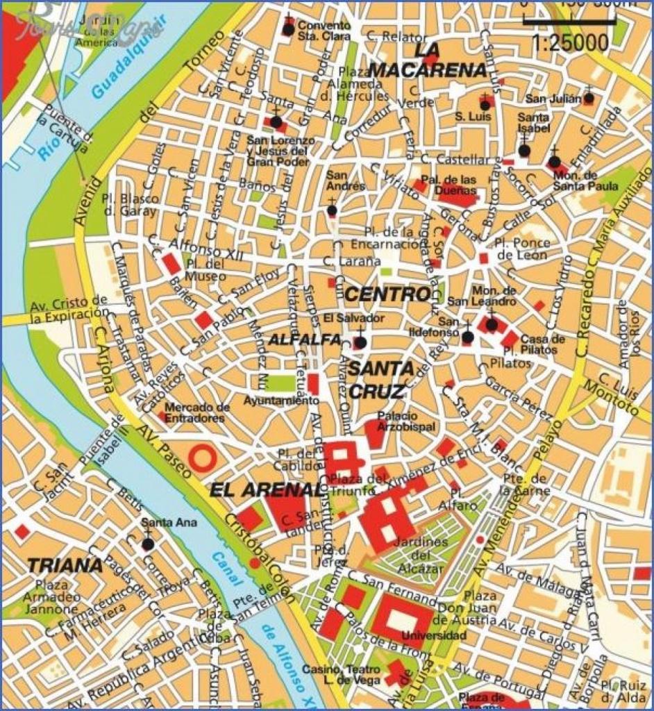 Seville Map Tourist Attractions - Seville Spain Map Tourist - Seville Tourist Map Printable