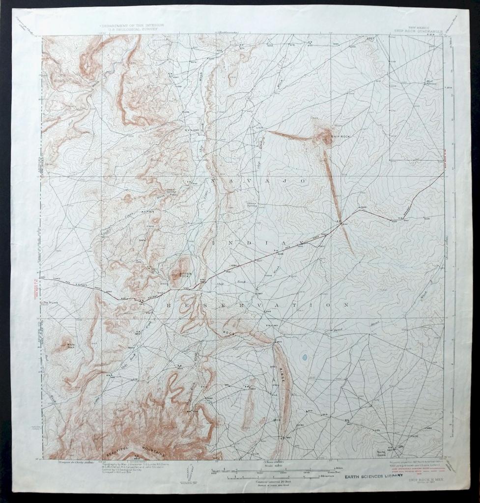 Ship Rock New Mexico Vintage 1937 Usgs Topo Map Shiprock 15-Minute - Usgs Printable Maps