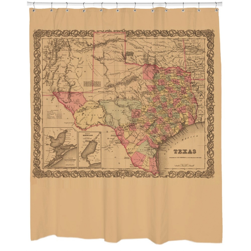 Shop 1855 Texas State Map Shower Curtain - Free Shipping Today - Texas Map Shower Curtain