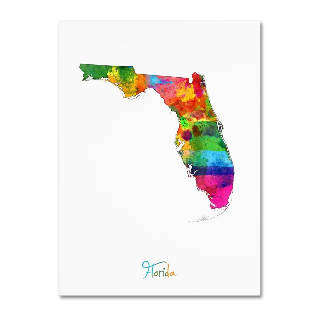 Shop Michael Tompsett 'florida Map' Canvas Wall Art - Multi - Free - Florida Map Wall Art