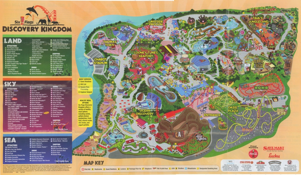 Six Flags Discovery Kingdom Map   Vacations   Six Flags, Cover, San - Six Flags Map California 2018