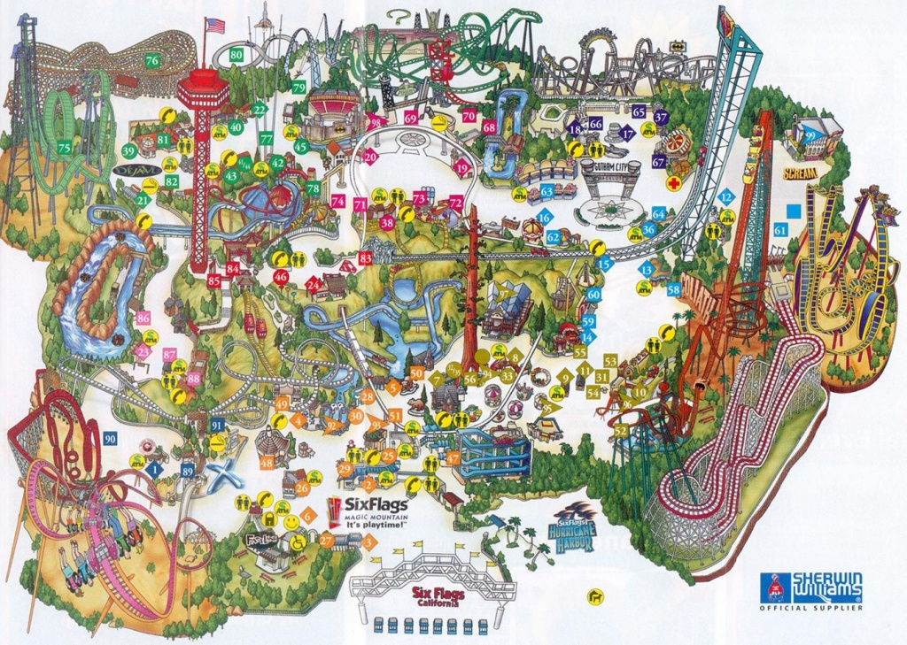 Six Flags Magic Mountain Map.   Valencia, Ca In 2019   Theme Park - Six Flags Map California 2018