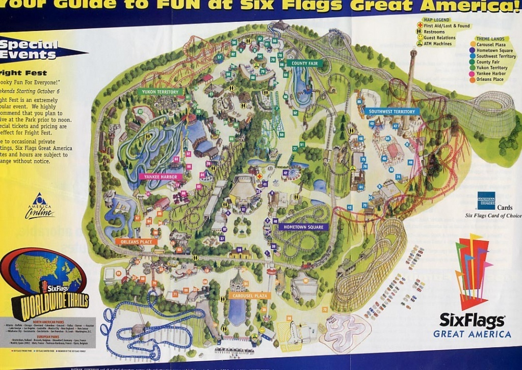 Six Flags Map Usa At Great America Park Roundtripticket Me And 6 - Six Flags Great America Printable Park Map
