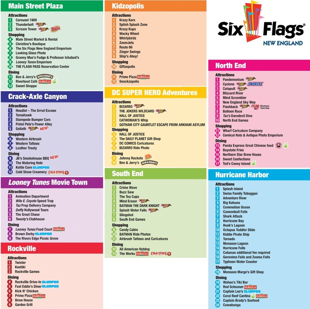 Six Flags New England - Maplets - Six Flags New England Map Printable