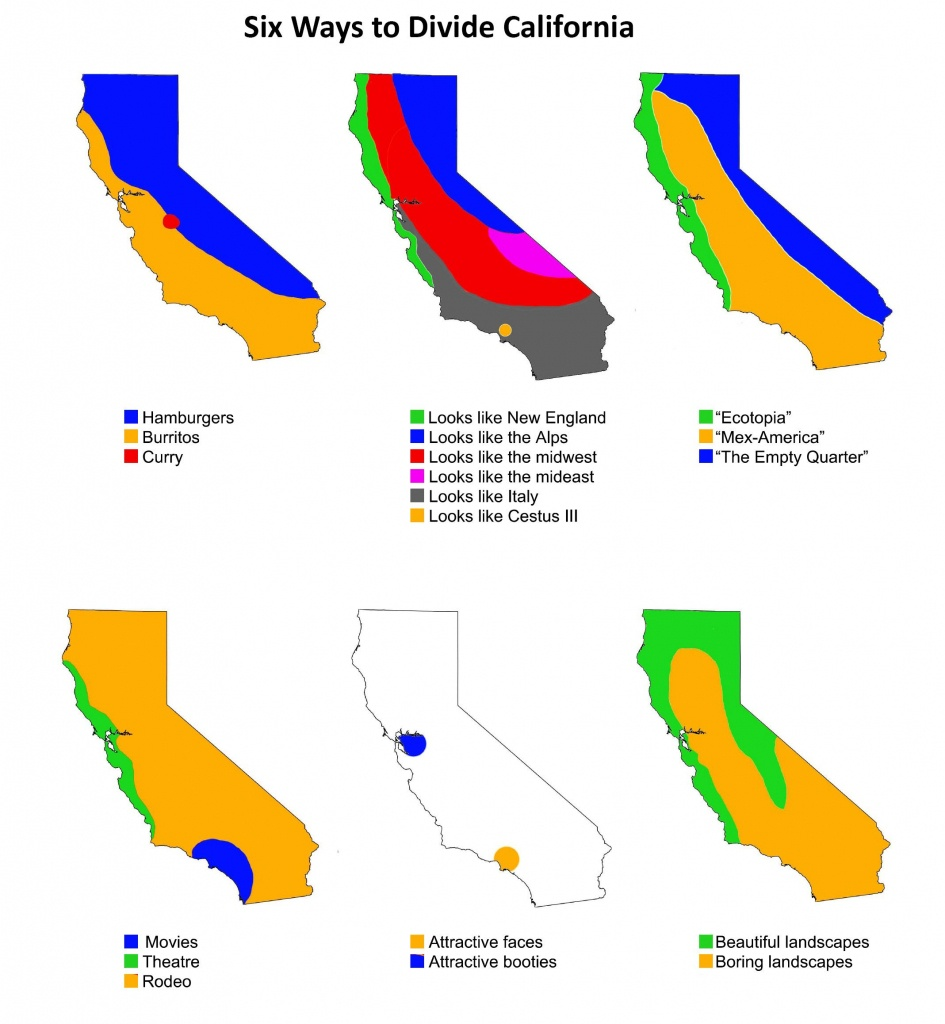 Six Ways To Divide California   Maps   Map, Funny Maps, State Map - Divide California Map