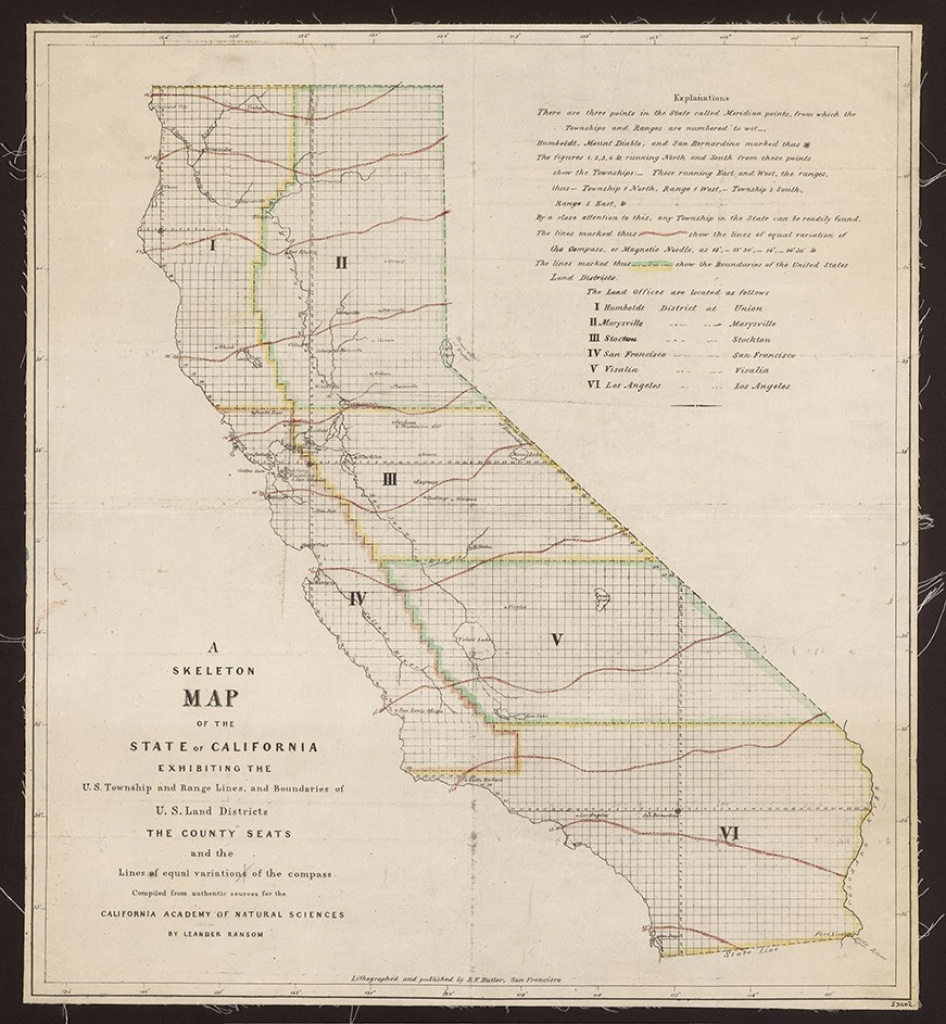 Skeleton Map Of The State Of California, Date: Circa 1853, Creator - California Township And Range Map