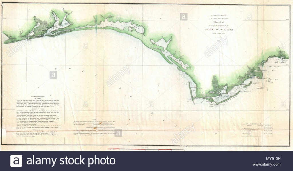 Sketch G Showing The Progress Of The Survey In Section Vii From 1849 - Santa Rosa Sound Florida Map