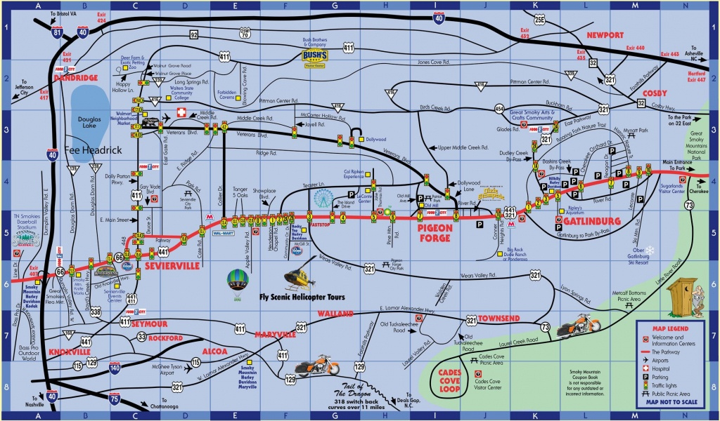 Smokymountaincouponbook Pigeon-Forge-Gatlinburg-Map   Pa Trip In - Printable Street Map Of Pigeon Forge Tn
