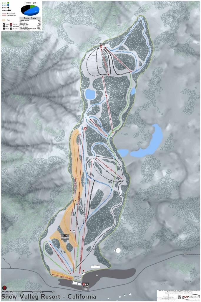 Snow Valley Resort Ski Map | California Ski Resort Maps In 2019 - California Ski Resorts Map