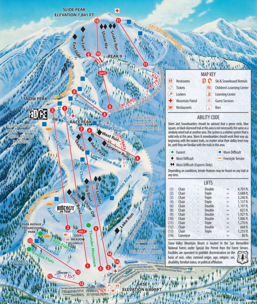 Snow Valley Trail Map | Liftopia - Southern California Ski Resorts Map