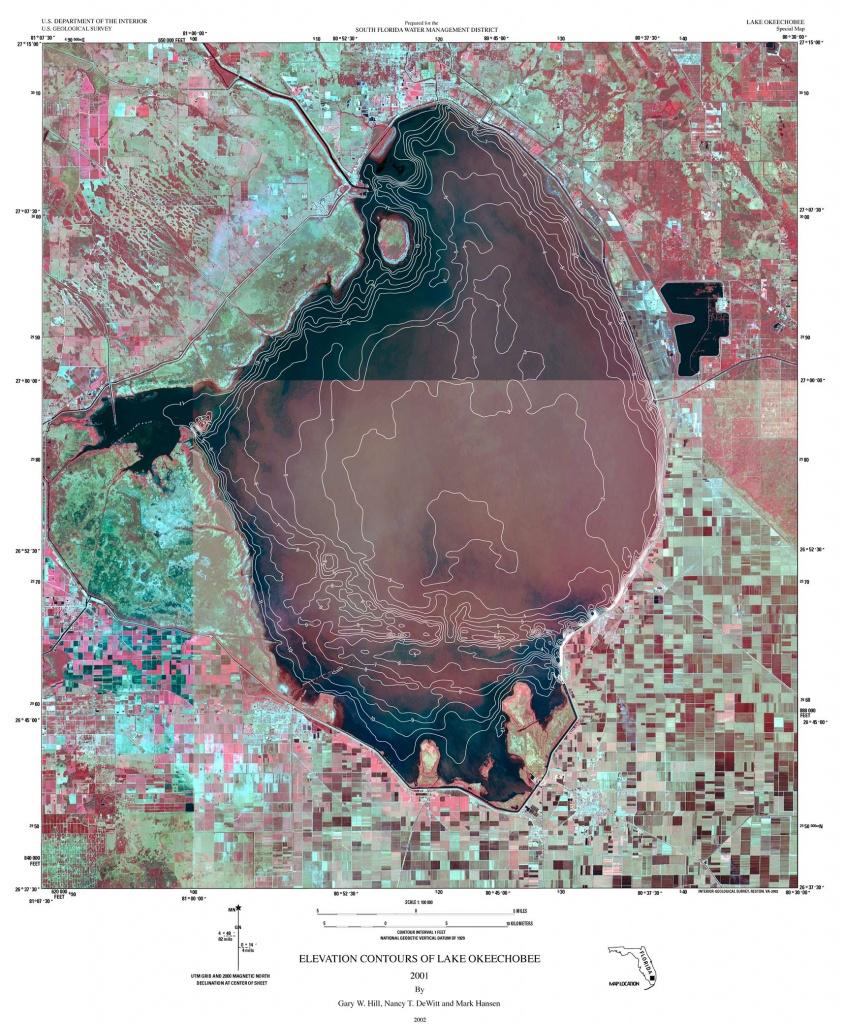 Sofia - Maps - Elevation Contours Of Lake Okeechobee 2001 - Fishing Map Of Lake Okeechobee Florida