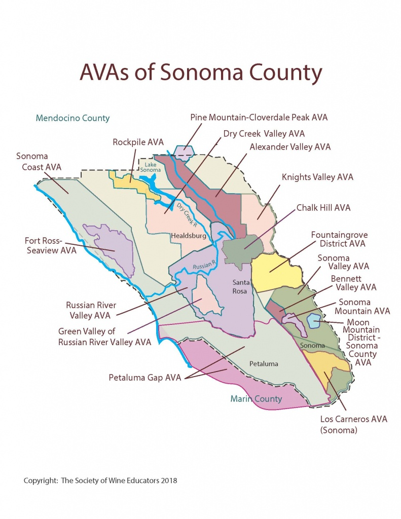 Sonoma County California Map And Travel Information | Download Free - Sonoma Wine Country Map California
