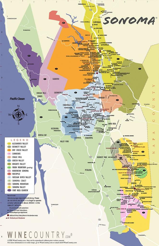 Sonoma County Wine Country Maps - Sonoma - Napa Winery Map Printable
