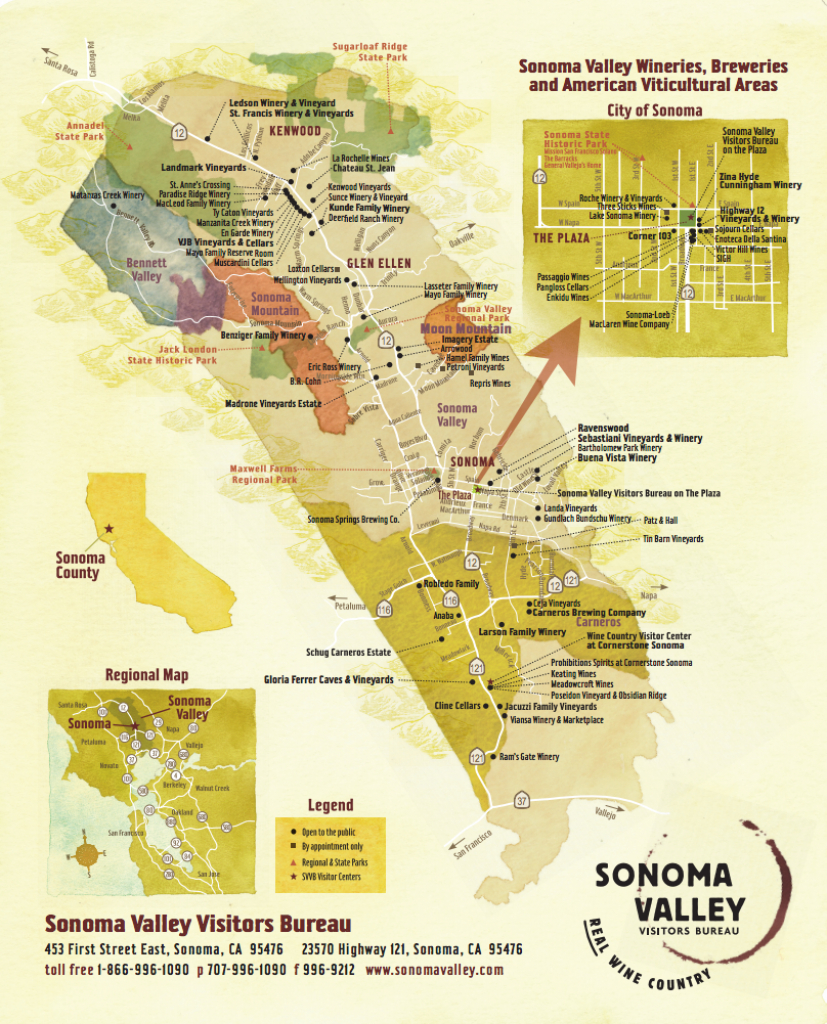 Sonoma Valley Wine Map - Best In Sonoma - California Wine Tours Map
