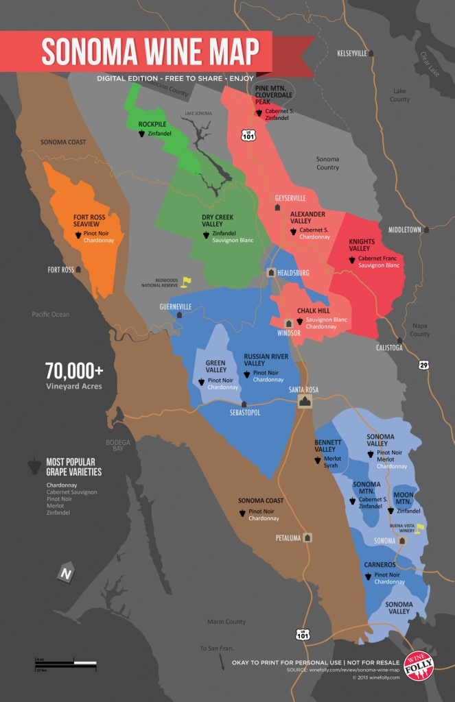 Sonoma Wine Map (Poster) | Wine Folly - California Wine Tours Map