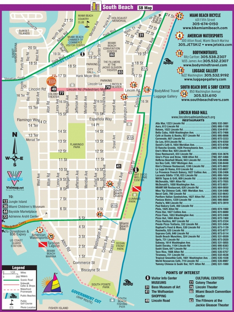 South Beach Restaurant And Sightseeing Map | Miami | South Beach - South Beach Florida Map