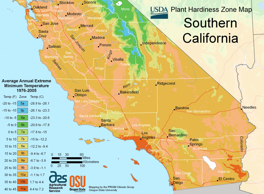 South California Plant Hardiness Zone Map • Mapsof - Map Of Southern California