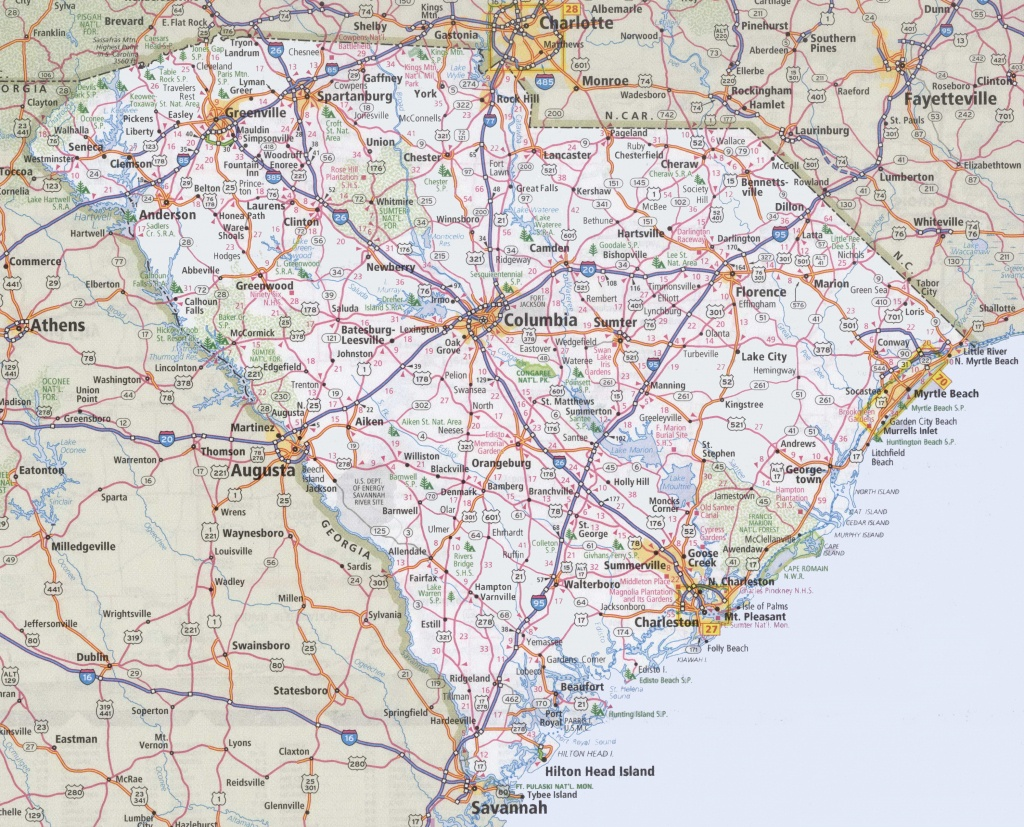 South Carolina Road Map - Printable Map Of South Carolina