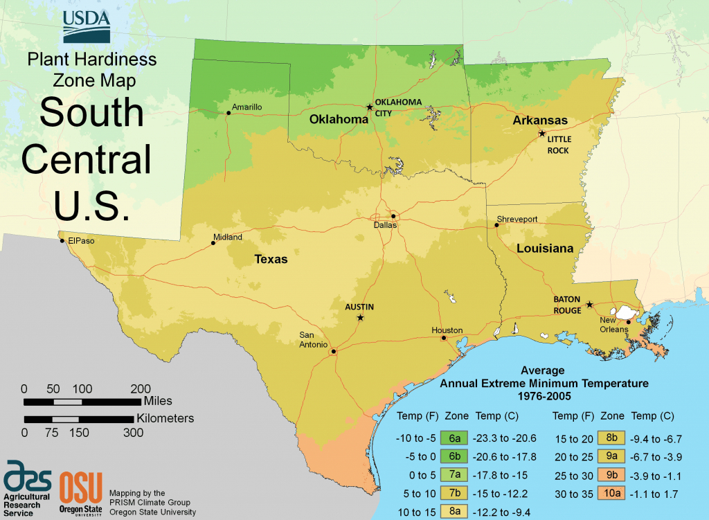 South Central Us Plant Hardiness Zone Map • Mapsof - Texas Hardiness Zone Map