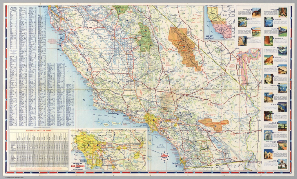 South Half) Road Map Of California - David Rumsey Historical Map - Driving Map Of California With Distances